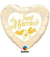 "36"" Just Married Ivory & Gold Mylar Balloon"
