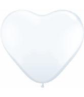 "15"" Heart Latex Balloons (50 Count) White"