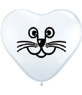 "6"" Cat Face White Heart Balloon 100 per bag"