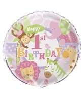 "18"" Pink 1st Birthday Safari Balloon"