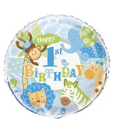 "18"" Blue 1st Birthday Safari Balloon"