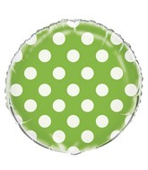 "18"" Lime Green Polka Dots Balloon"