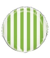 "18"" Lime Green Stripe Balloon"