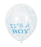 "6 Count It&#39s A Boy Clear 12"" Balloons with Paper Confetti"