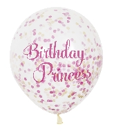 "6 Count Princess Birthday 12"" With Paper Confetti"