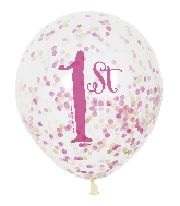 "6 Count 1st Birthday 12"" Balloons with confetti paper"