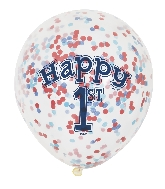 "6 Count 1st Birthday 12"" Balloons Confetti Paper"
