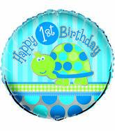 "18"" First Birthday Turtle Foil Balloon"