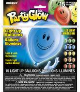 "10"" Asstd Happy Face Latex Light Up Balloons Airfill 15Ct"
