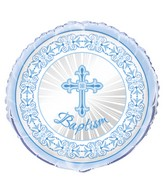 "18"" Radiant Cross Baptism Blue Foil Balloon"
