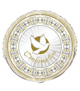 "18"" Radiant Cross Confirmation Silver/Gold Foil Balloon"