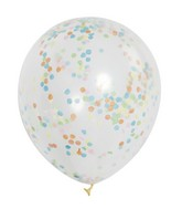 "12"" 6 Count Clear Balloons (Multi Color Paper Confetti)"