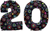"38"" Printed Black Number 20 Balloon"