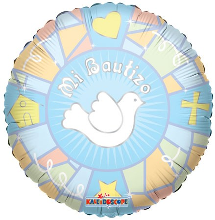 "18"" Mi Bautizo Vitral Azul Spanish Balloon"