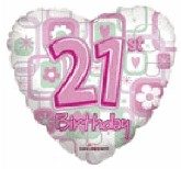 "18"" Happy 21st Birthday Heart Balloon"