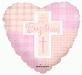 "9"" Airfill Baptism Girl Cross Balloon"