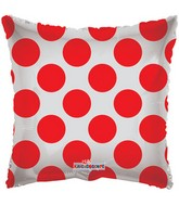 "18"" Solid Square with Red Polka Dots"