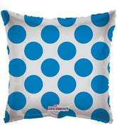 "22"" Solid Square with Blue Polka Dots"