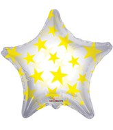 "22"" Yellow Patterned Star Clear Balloon"
