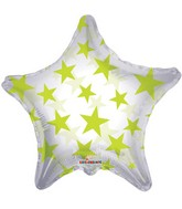 "22"" Green Patterned Star Clear Balloon"