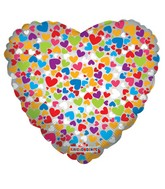 "18"" Decorative Hearts Mylar Balloon"