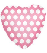 "18"" Pink White Heart Polka Dots Balloon"