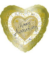 "17"" Happy Aniversary Gold Hearts Packaged"