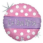 "18"" Holographic Balloon Packaged Es una Niña - Polka"