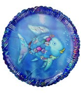 "18"" Rainbow Fish Blue Holographic Balloon"