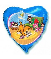 "18"" Blue Heart Funny Little Cats Balloon"