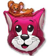 "27"" Cat Balloon Fuchsia"