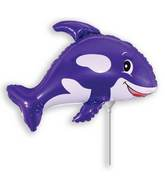 Airfill Only Violet Friendly Whale Balloon