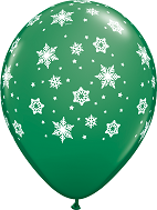 "11"" Qualatex Snowflakes Green (50 Count)"