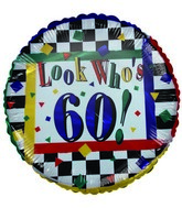 "18"" Look who's 60 Colorful Checkered Foil Balloon"