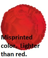 "18"" (Misprint Lighter Red Color) Solid Color Balloon"