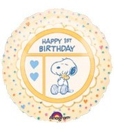 "18"" Peanuts Snoopy 1st Birthday Balloon"