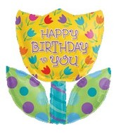 "28"" Happy Birthday Flower Balloon (SLIGHT DAMAGE)"
