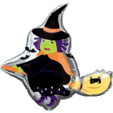 "35"" Halloween Witch Mylar Balloon"