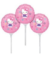 "9"" EZ Fill Airfill Hello Kitty With Sticks (3 Pack)"