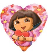 "18"" Dora The Explorer Hearts Hug Balloon"