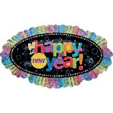 31&#39&#39 Happy New Year Holographic Ruffle