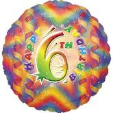 "18"" Happy 6th Birthday Mylar Balloon"