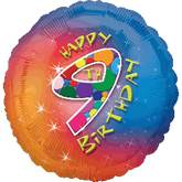 "18"" Happy 9th Birthday Mylar Balloon"