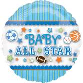 "26"" See Thru Baby Boy All Star Balloons"