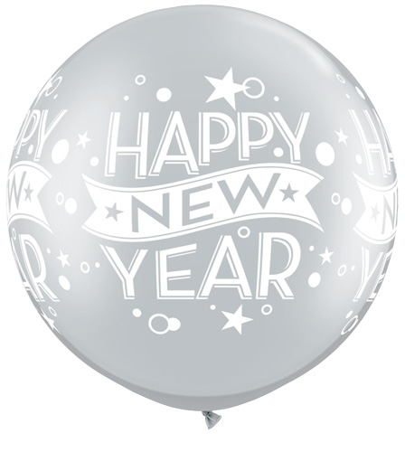 "30"" Silver Happy New years Confetti balloon (2 Count)"