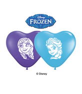 "6"" Heart Pale Blue/Purple Violet Anna And Elsa Faces 100CT"
