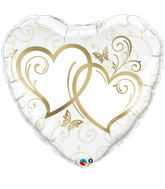"36"" Heart Entwined Hearts Gold"