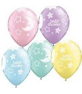 "11"" 6 Count Print Retail Pack Baby Shower Moons And Stars"