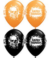 "11"" Assorted Orange and Black Haunted Skull (50 Count)"