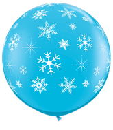 "36"" Robin&#39s Egg Blue Snowflakes Latex Balloon"